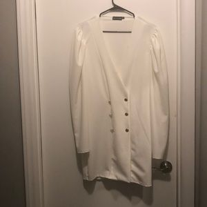 Cape sleeve Cream Dress